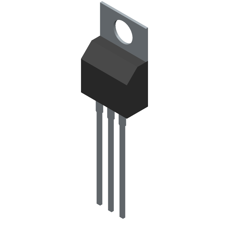 ON Semiconductor HGTP20N60A4 (Transistor Outline, Vertical) 3D model isometric projection.