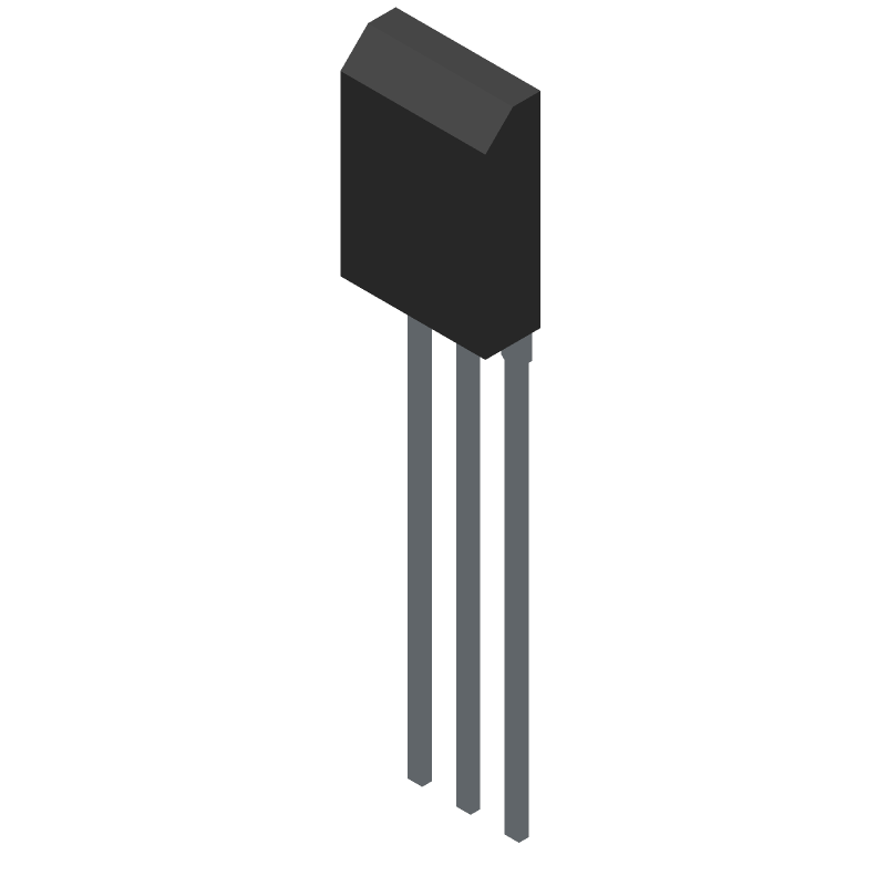 STMicroelectronics BD139 (Transistor Outline, Vertical) 3D model isometric projection.