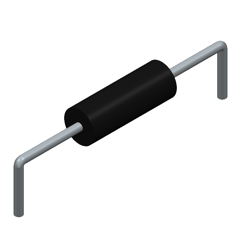 TE Connectivity CFR25J10K (Resistors, Axial Diameter Horizontal Mounting) 3D model isometric projection.