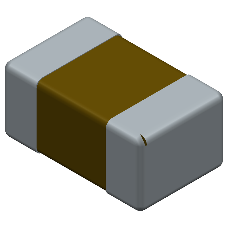 AVX 08055C104KAT2A (Capacitor Chip Non-polarised) 3D model isometric projection.