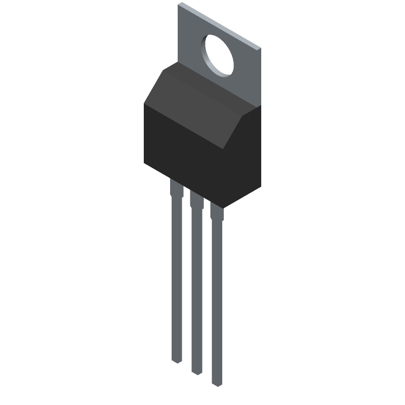 ON Semiconductor LM317MABTG (Transistor Outline, Vertical) 3D model isometric projection.