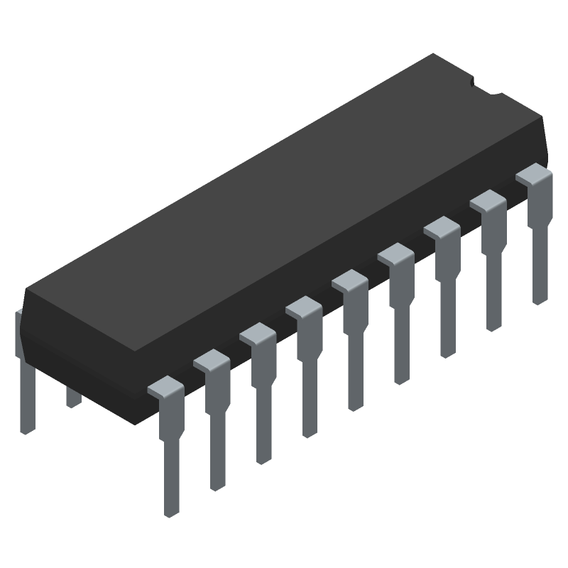 Microchip PIC16F88-I/P (Dual-In-Line Packages) 3D model isometric projection.