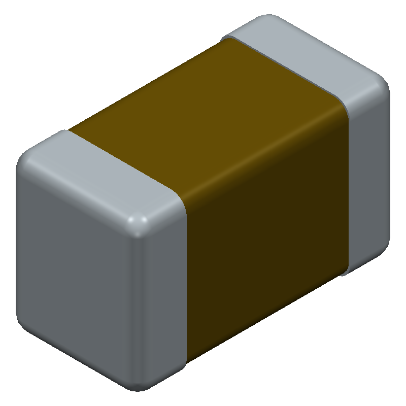 TDK C1608X5R0J475K080AB (Capacitor Chip Non-polarised) 3D model isometric projection.