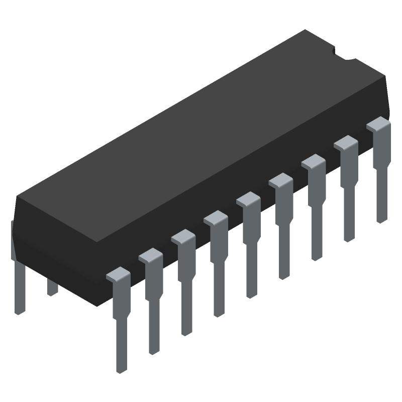 Microchip PIC16F1827-I/P (Dual-In-Line Packages) 3D model isometric projection.