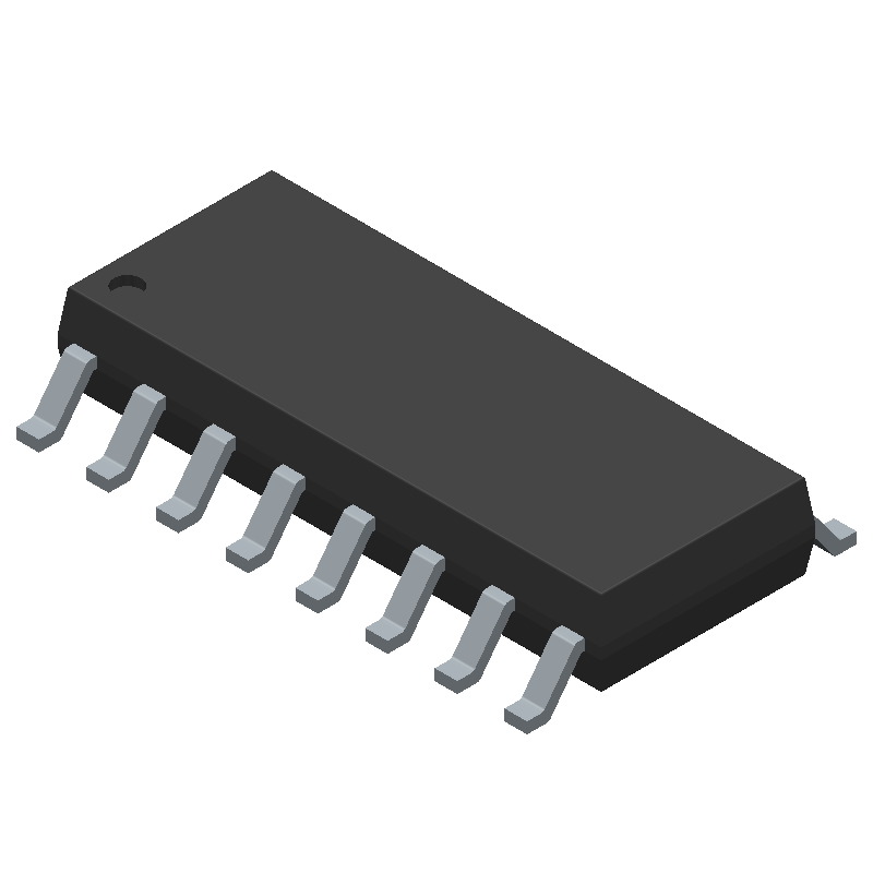 Texas Instruments TL494ID (Small Outline Packages) 3D model isometric projection.
