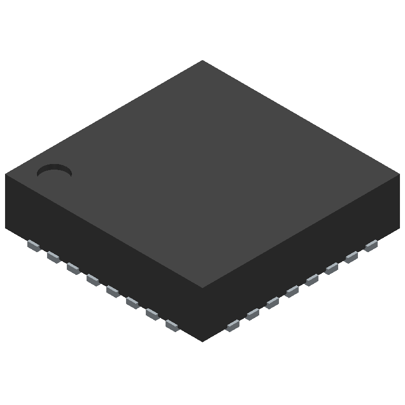 Texas Instruments CC2650F128RSMT (Quad Flat No-Lead) 3D model isometric projection.