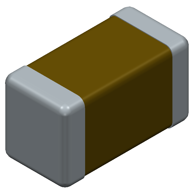YAGEO (PHYCOMP) CC1206ZKY5V8BB106 (Capacitor Chip Non-polarised) 3D model isometric projection.