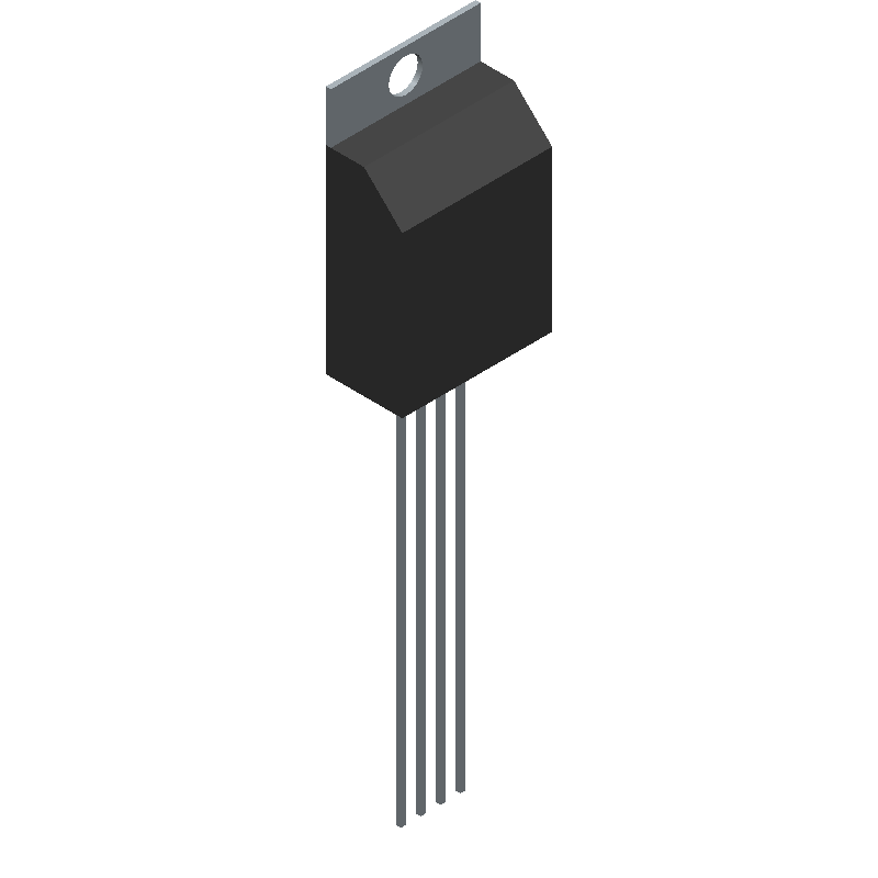 Adafruit 385 (Transistor Outline, Vertical) 3D model isometric projection.