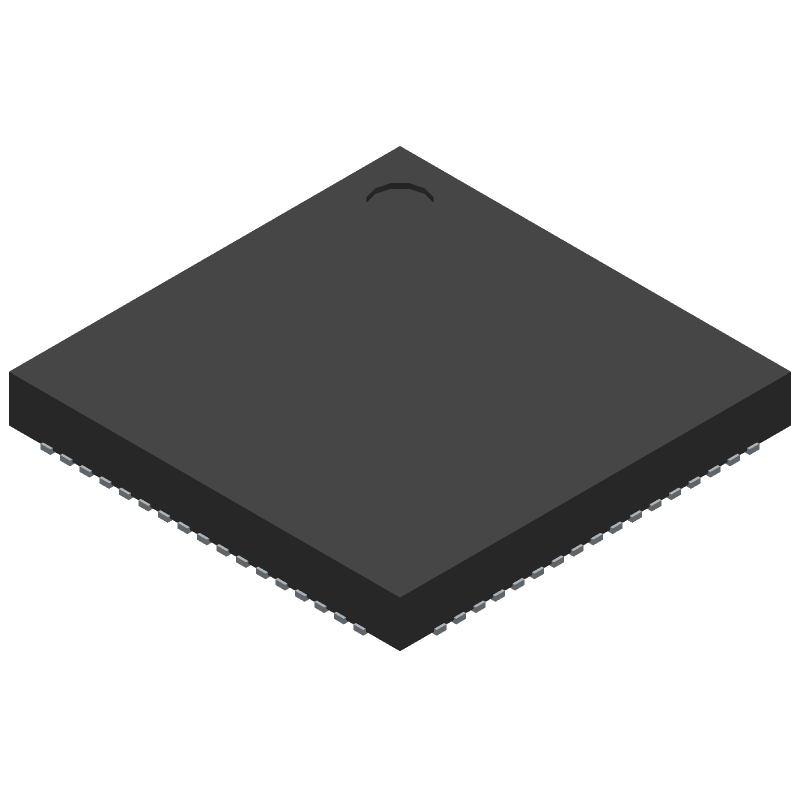 Cypress Semiconductor CY8C5888LTI-LP097 (Quad Flat No-Lead) 3D model isometric projection.