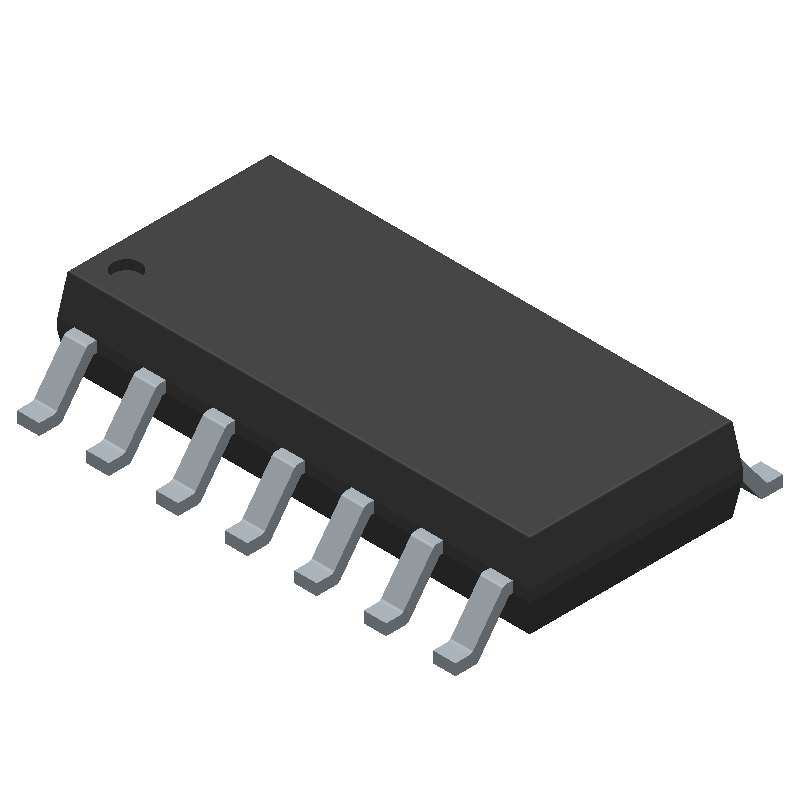 Texas Instruments LM324D (Small Outline Packages) 3D model isometric projection.