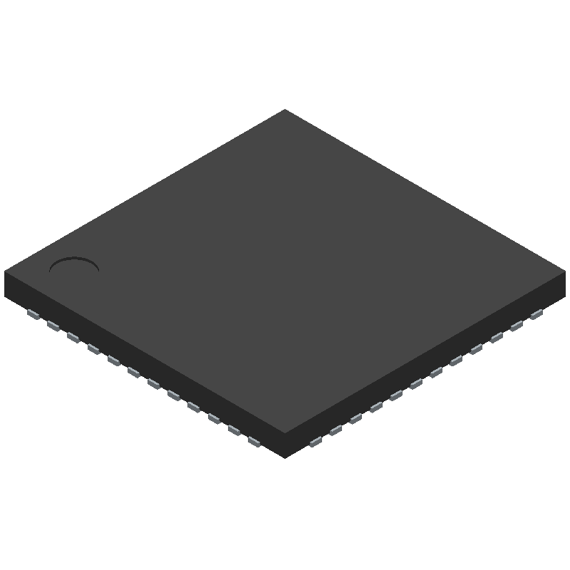 STMicroelectronics STM32F401CBU6 (Quad Flat No-Lead) 3D model isometric projection.