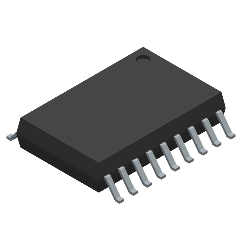 Texas Instruments ULN2803ADWRG4 (Small Outline Packages) 3D model isometric projection.