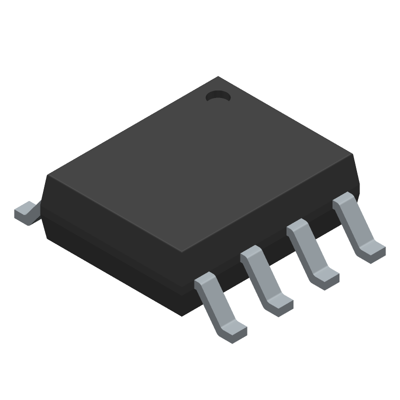 Texas Instruments NE555DRG4 (Small Outline Packages) 3D model isometric projection.