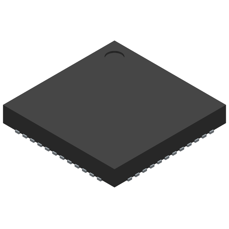 Nordic Semiconductor nRF52832-QFAA-T (Quad Flat No-Lead) 3D model isometric projection.