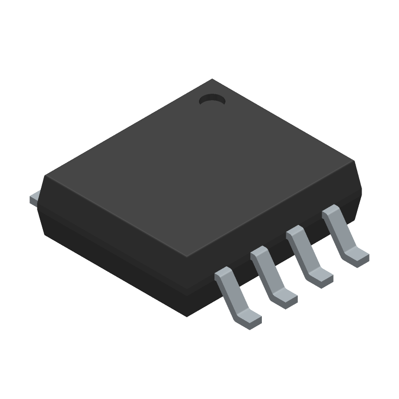 Texas Instruments NE555PSRG4 (Small Outline Packages) 3D model isometric projection.
