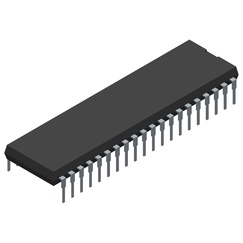 Zilog Z84C0006PEG (Dual-In-Line Packages) 3D model isometric projection.