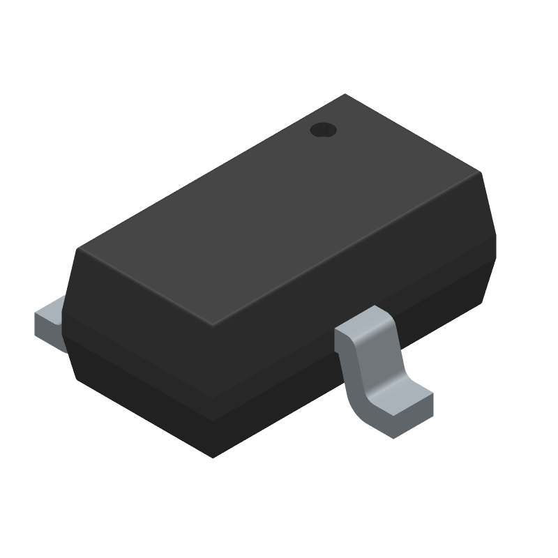 Diodes Inc. DMN100-7-F (SOT23 (3-Pin)) 3D model isometric projection.