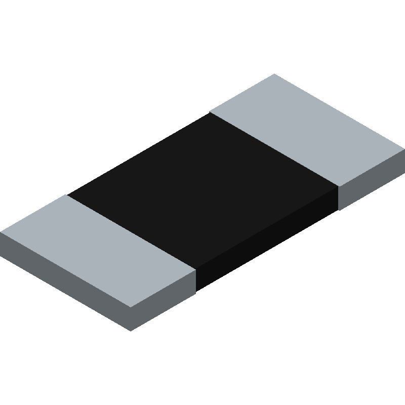 Arcol CRS1050 R0005 F 75PPM TR (Resistor Chip) 3D model isometric projection.