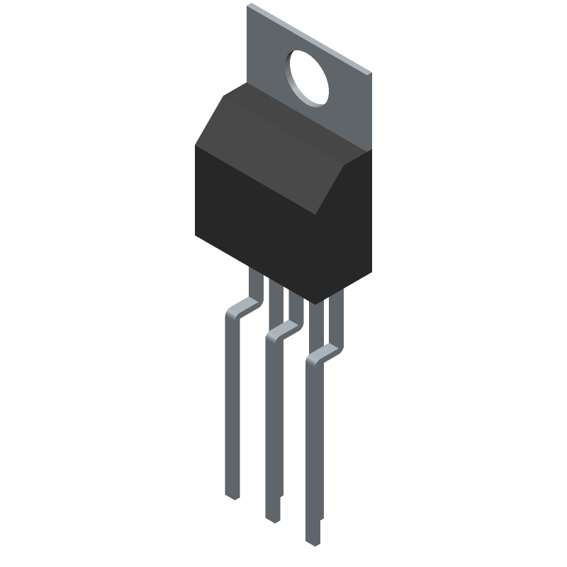 Micrel MIC4451ZT (Transistor Outline, Vertical) 3D model isometric projection.