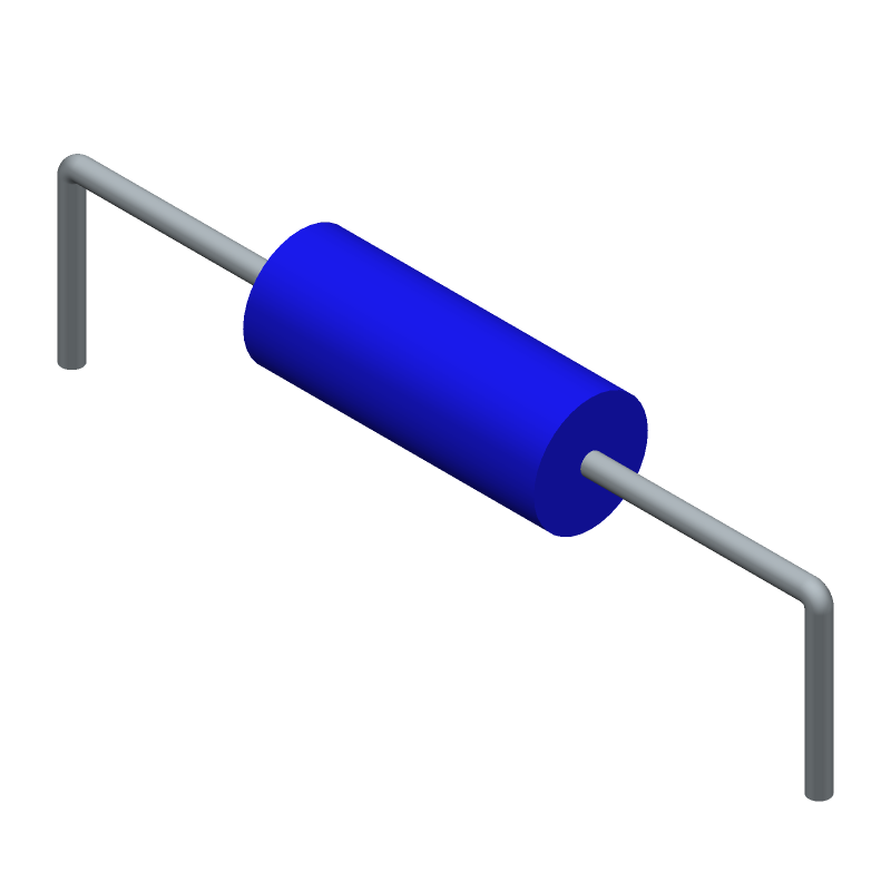 Bourns 78F101J-RC (Inductors, Axial Diameter Horizontal Mounting) 3D model isometric projection.