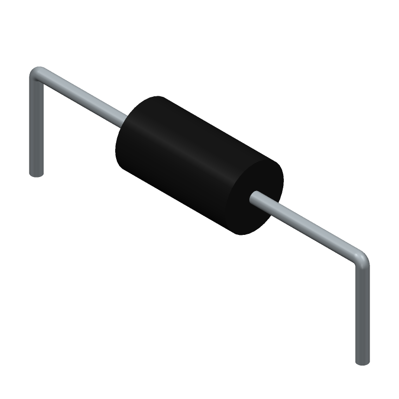 Vishay RNX025100MFKEL (Resistors, Axial Diameter Horizontal Mounting) 3D model isometric projection.