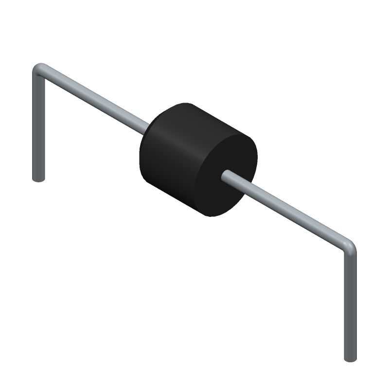 Diodes Inc. 6A4-T (Diodes, Axial Diameter Horizontal Mounting) 3D model isometric projection.