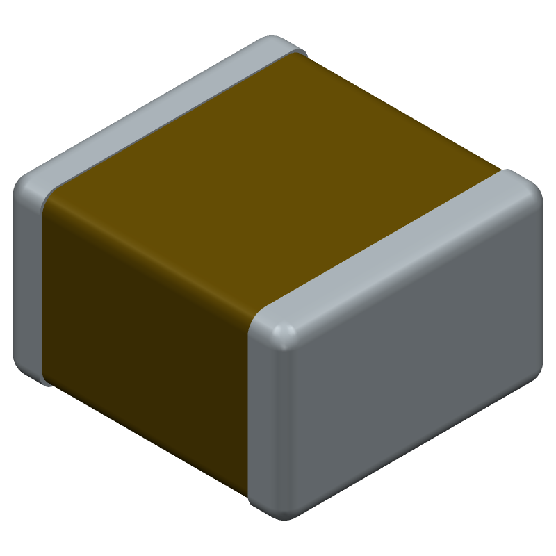 Syfer 1111J1K01P50CQT (Capacitor Chip Non-polarised) 3D model isometric projection.