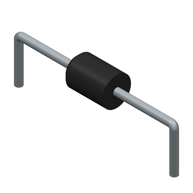 HITACHI AU01-15 (Diodes, Axial Diameter Horizontal Mounting) 3D model isometric projection.