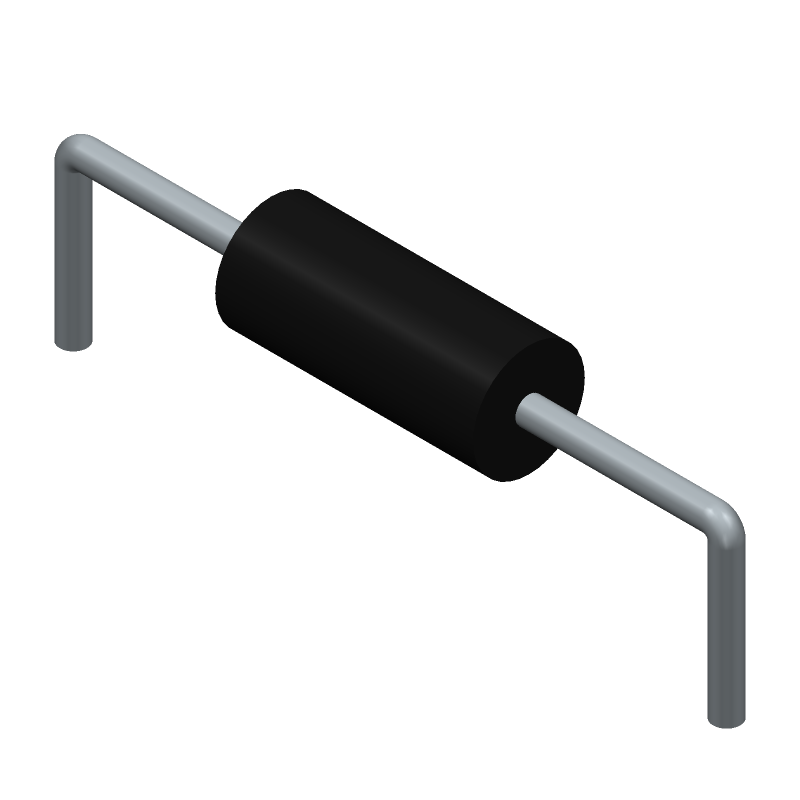 Stackpole Electronics Inc. CF14JT1K00 (Resistors, Axial Diameter Horizontal Mounting) 3D model isometric projection.