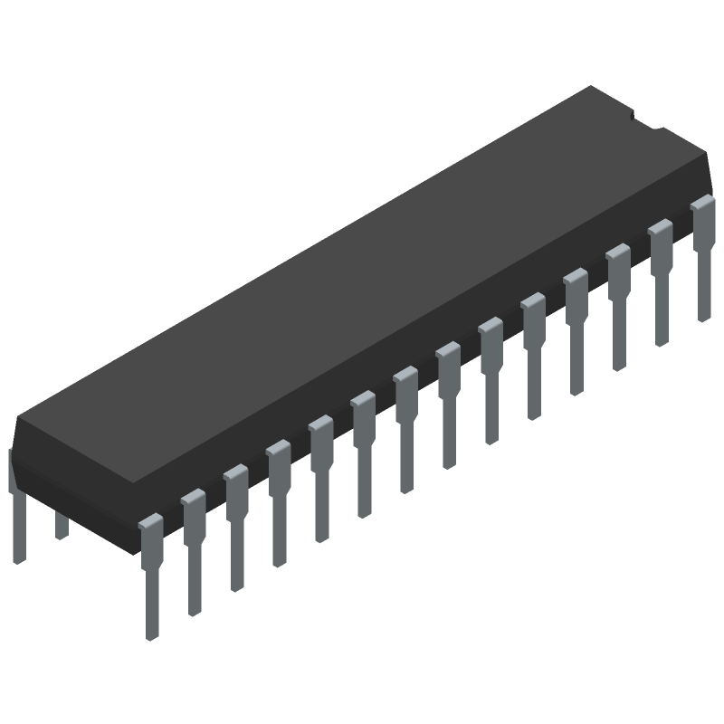 Microchip ATMEGA328P-PU (Dual-In-Line Packages) 3D model isometric projection.