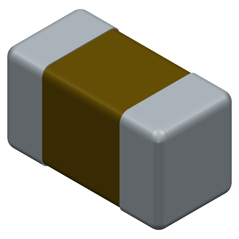 AVX 0402ZD225KAT2A (Capacitor Chip Non-polarised) 3D model isometric projection.