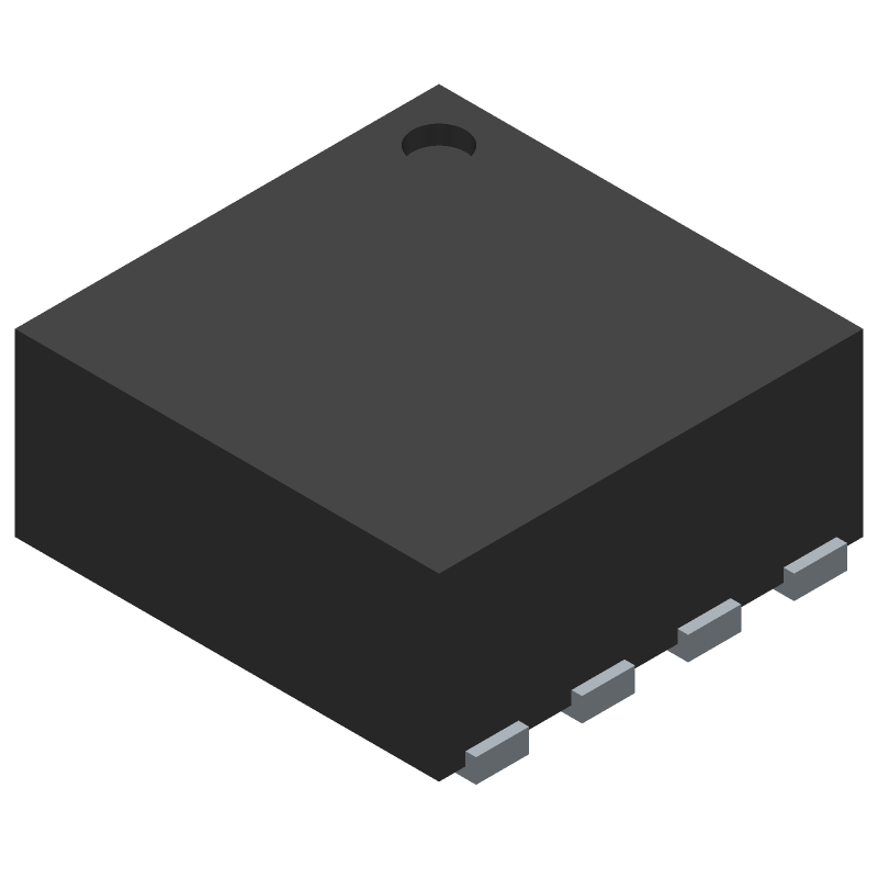 Microchip MCP1810T-33I/J8A (Small Outline No-lead) 3D model isometric projection.