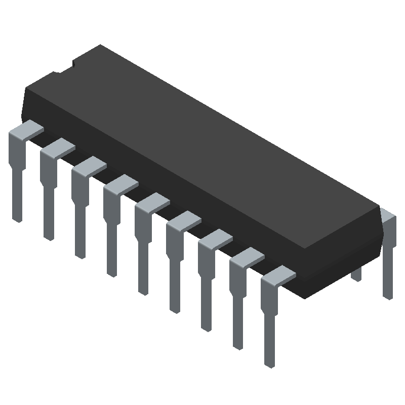 National Semiconductor LM3914N-1 (Dual-In-Line Packages) 3D model isometric projection.