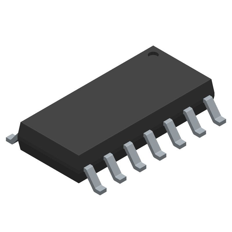 Texas Instruments CD74HC00M96 (Small Outline Packages) 3D model isometric projection.