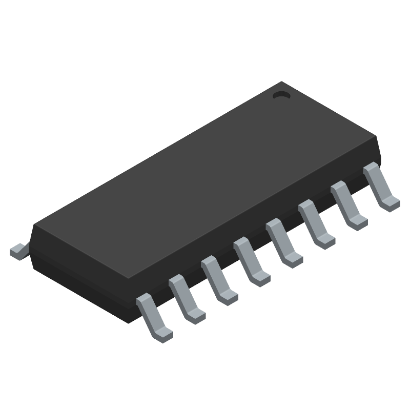 Texas Instruments CD74HC4050M96 (Small Outline Packages) 3D model isometric projection.