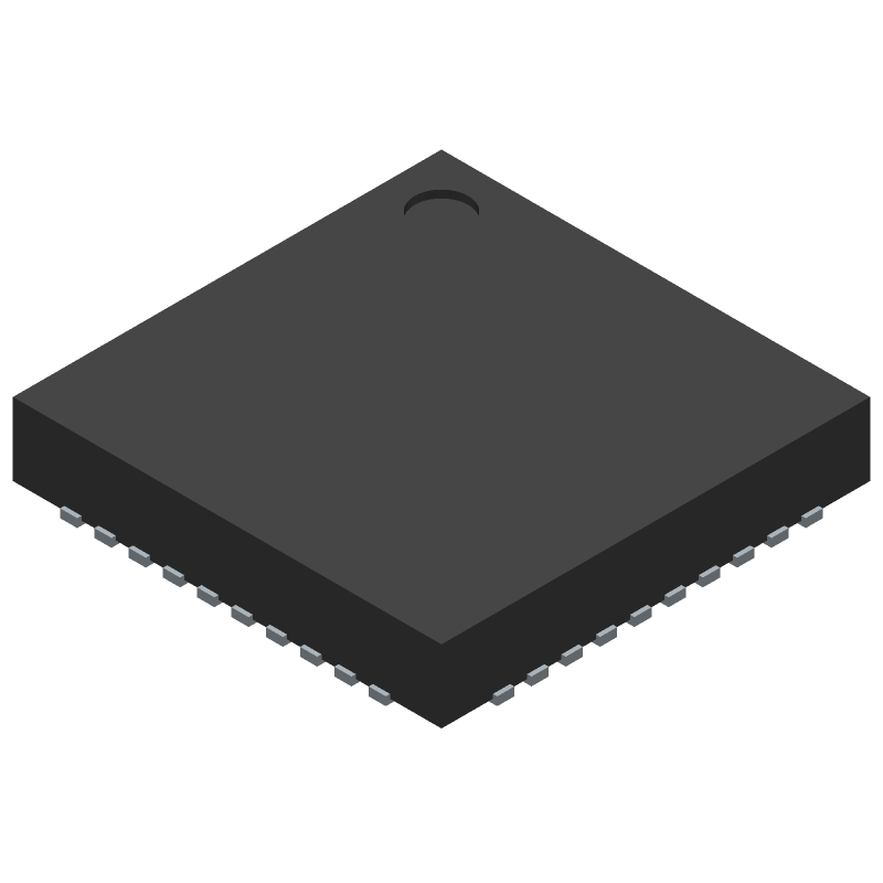 Dialog Semiconductor DA14585-00000AT2 (Quad Flat No-Lead) 3D model isometric projection.