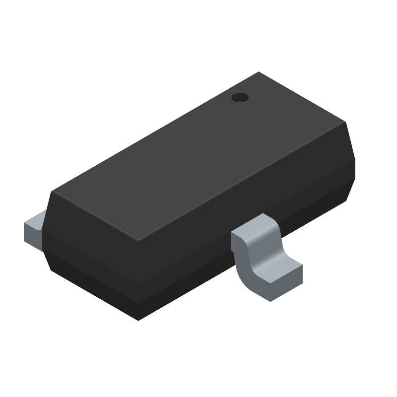 ON Semiconductor BC81725LT3G (SOT23 (3-Pin)) 3D model isometric projection.