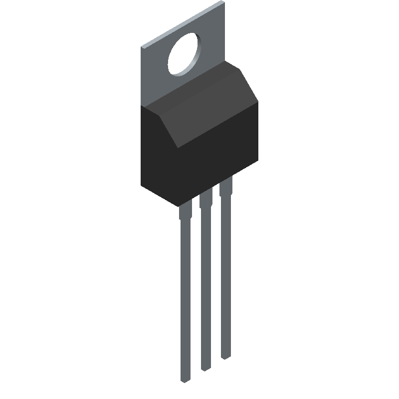 ON Semiconductor LM7805ACT (Transistor Outline, Vertical) 3D model isometric projection.