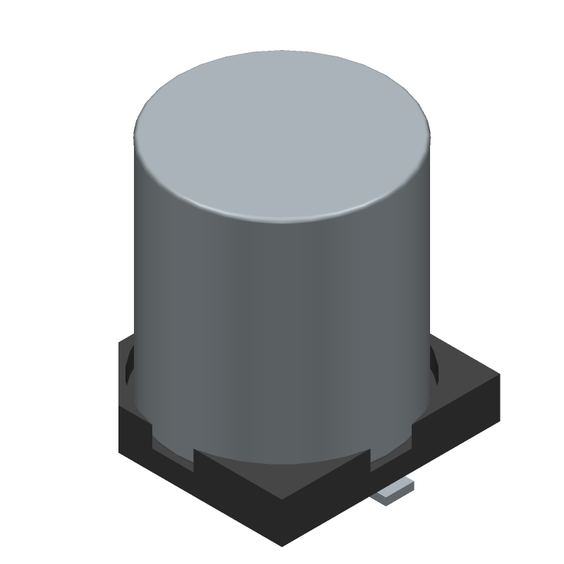 Kemet A767KN476M1HLAE029 (Capacitor Al Electrolytic) 3D model isometric projection.