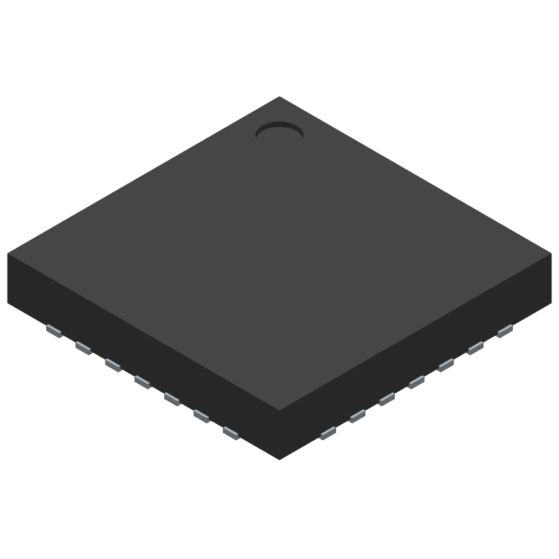 Microchip PIC18F27K42-I/ML (Quad Flat No-Lead) 3D model isometric projection.