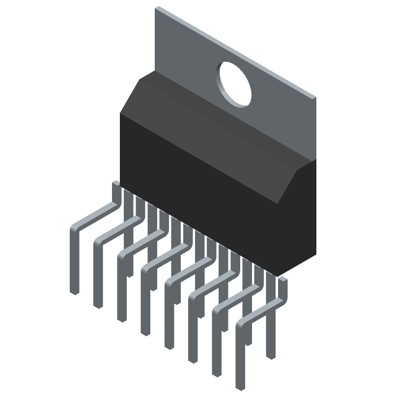 STMicroelectronics TDA7293V (Transistor Outline, Vertical) 3D model isometric projection.