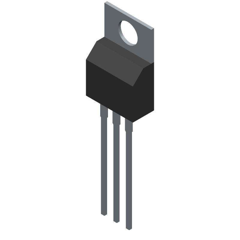 STMicroelectronics L7805CV-DG (Transistor Outline, Vertical) 3D model isometric projection.