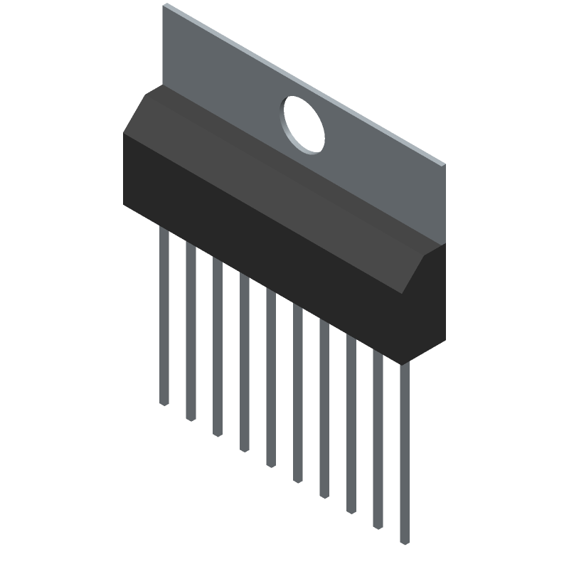 Toshiba TA7291P(O) (Transistor Outline, Vertical) 3D model isometric projection.