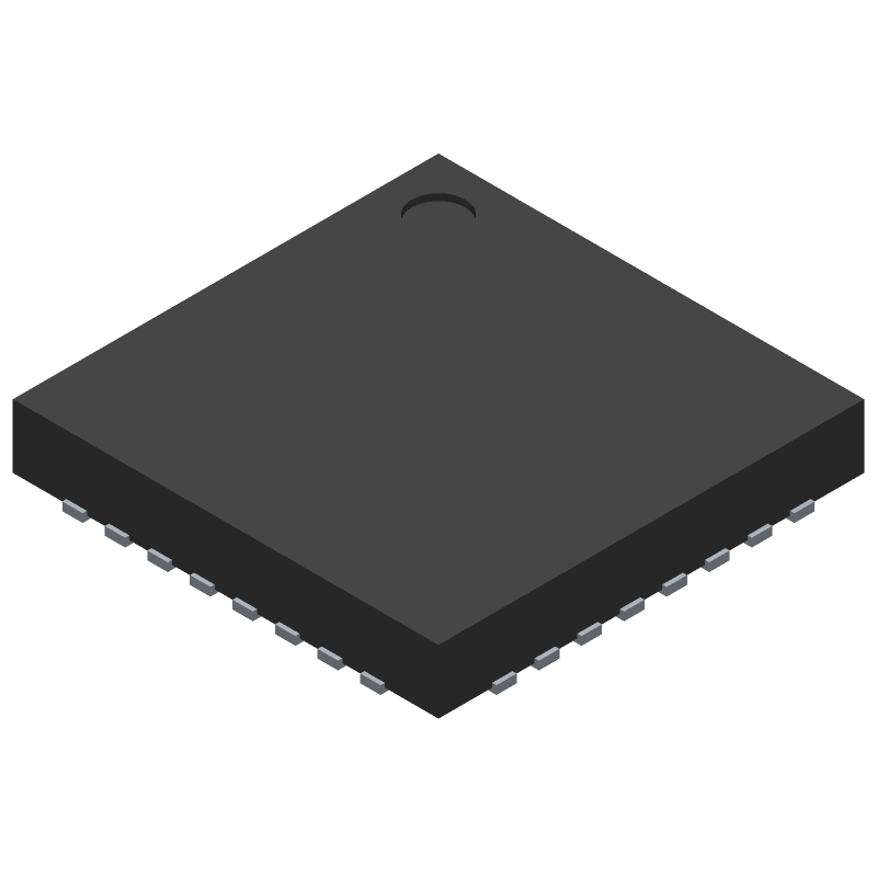 Analog Devices AD7195 (Quad Flat No-Lead) 3D model isometric projection.