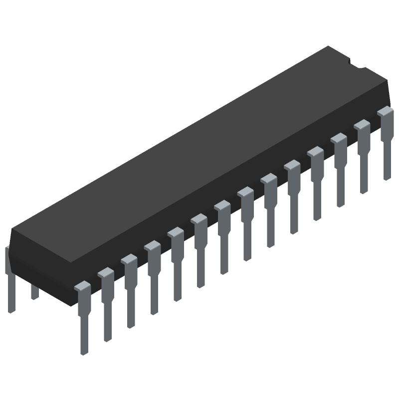 Microchip MCP23017-E/SP (Dual-In-Line Packages) 3D model isometric projection.