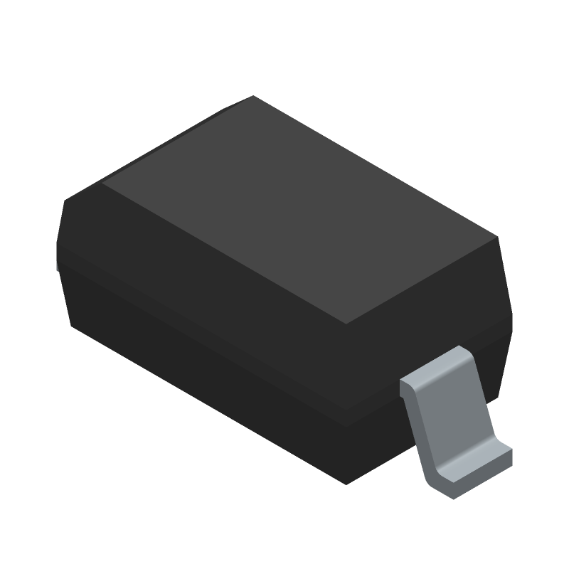 Vishay 1N4148W-E3-08 (Small Outline Diode) 3D model isometric projection.