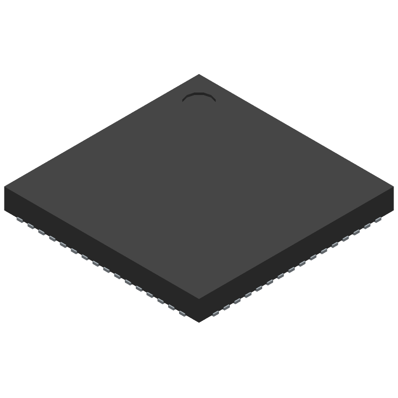Microchip LAN9514-JZX (Quad Flat No-Lead) 3D model isometric projection.