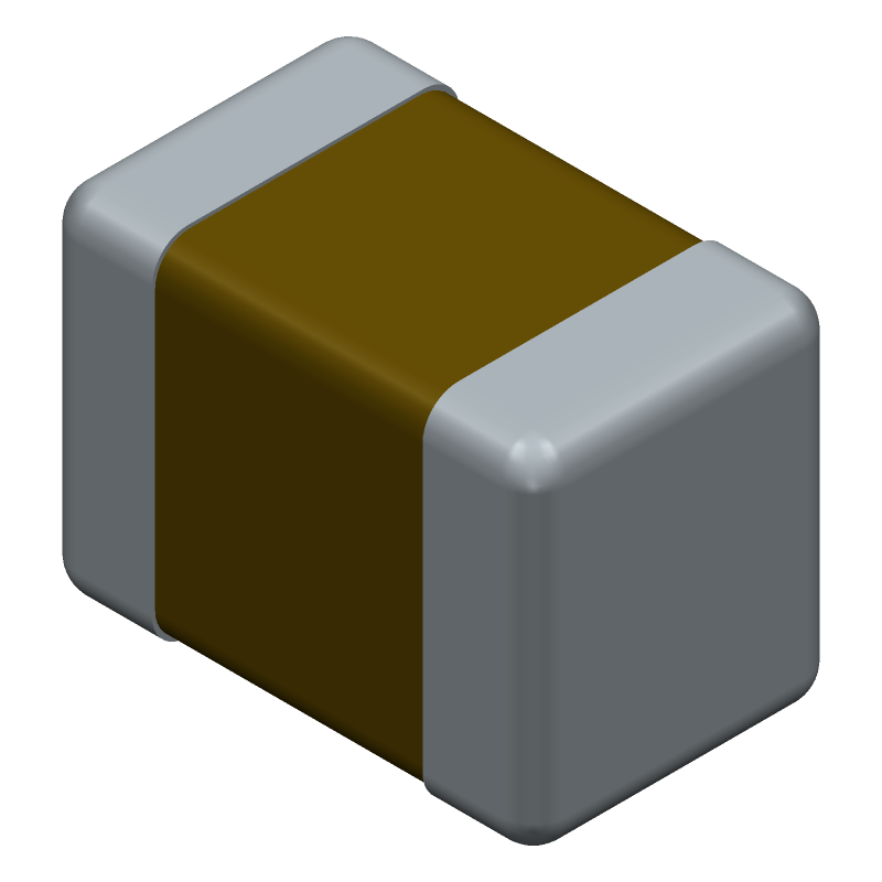 Murata Electronics GRM21BR61A106KE19K (Capacitor Chip Non-polarised) 3D model isometric projection.