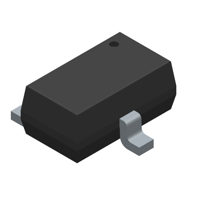 ROHM Semiconductor DTC114EKAT146 (SOT23 (3-Pin)) 3D model isometric projection.