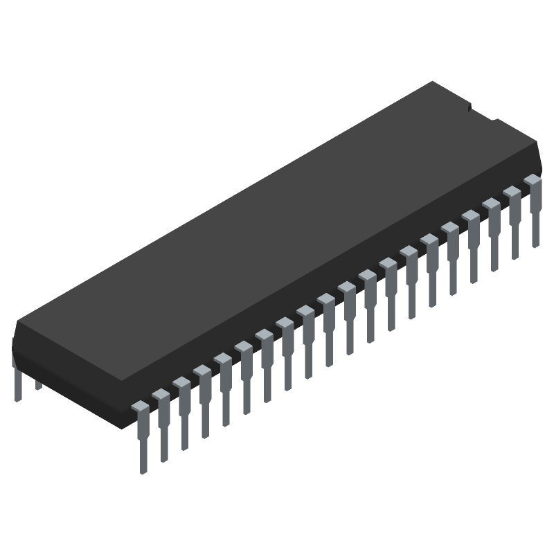 Microchip PIC16F18875-I/P (Dual-In-Line Packages) 3D model isometric projection.